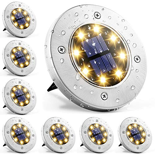 Solpex 8 Pack Disk Lights Outdoor, 8 LED Solar Garden Lights Waterproof Landscape Lighting for Walkway Yard Deck Lawn Patio Pathway (Warm White)