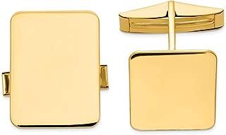 Solid 14K Yellow Gold Rectangular Cuff Links