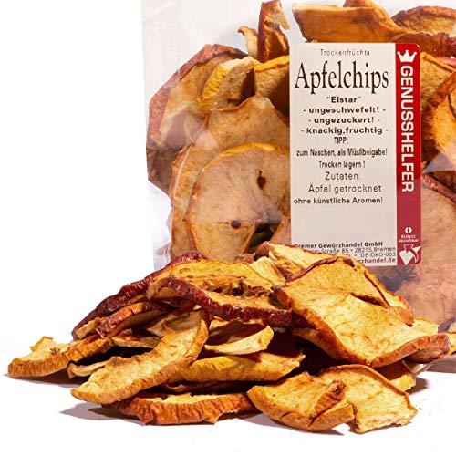 Bremer Gewürzhandel - Apfelchips 100 Gramm - Knusprige, Knackige & Vitaminreiche Apfelringe - ohne Schwefel - ohne Zusatzstoffe