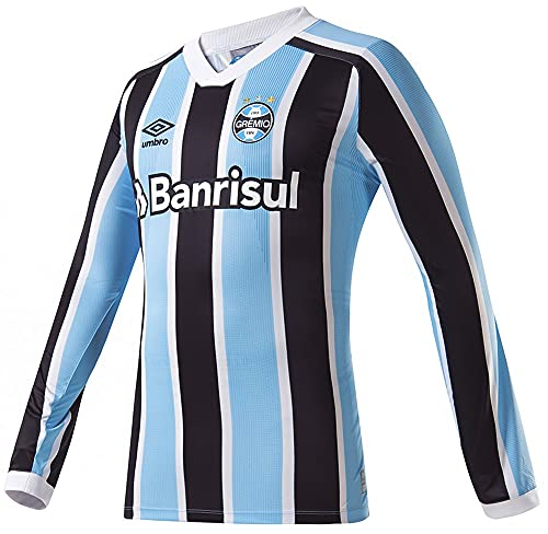 Camisa Manga Longa Gremio Oficial 1 2021, UMBRO, Masculino, Celeste/Preto/Branco, P