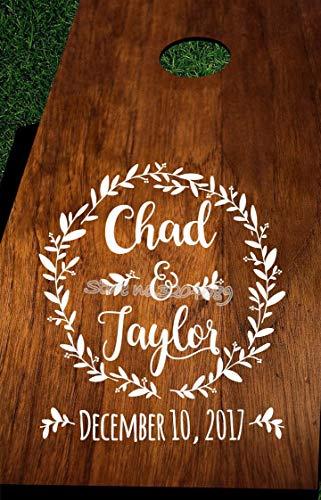 Aangepaste bruiloft oogje applique houten sticker kroonlijst met naam en datum voor gepersonaliseerde instellingen voor bruiloften