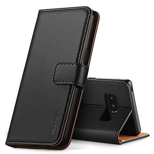 Hianjoo Hülle Kompatibel für Samsung Galaxy Note 8, Handyhülle Tasche Premium Leder Flip Wallet Case Kompatibel für Samsung Note 8 [Standfunktion/Kartenfächern/Magnetic Closure Snap], Schwarz