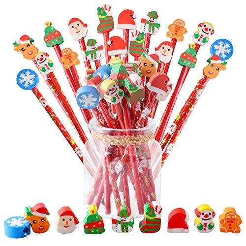 Gudotra 36pcs Set Lápice de Madera Lápiz con Goma Infantil Patrón Arbol de Navidad Santa Claus Muñeco de Nieve Borradores para Regalo Cumpleaños Infantile Niños Regalos Cumpleaños Comunión Navidad
