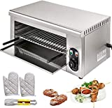 Salamander Broiler Countertop Grill, Electric Cheesemelter Stainless Steel 110V 2000W Adju...