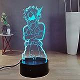 Luz de noche de anime 3D, palomitas de maíz Katsushika touch control remoto luz de noche de dormitorio 7 colores luz de ambiente de oficina, regalo de cumpleaños para niños, niñas y niñas