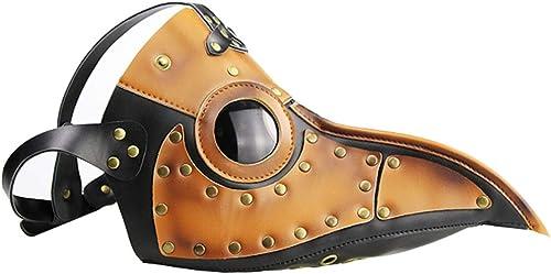 FELICIKK Pest-Doktor-Vogelmaske-Langer Nasenschnabel mittelalterlicher Steampunk Halloween-Partei-Maskerade-Kostüm-Requisiten braun (Farbe   Picture Farbe)