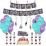 ZSWQ Troll Ballons Anniversaire Décoration,Banderole Joyeux Anniversaire Kit Set-pour Bébé Fille Garçon Lady Birthday Party Fournitures