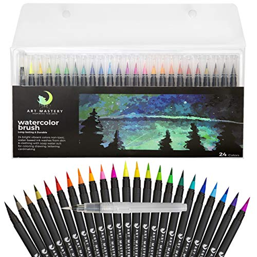 Art Mastery Watercolor Brush Pens for Drawing Calligraphy Painting Coloring - 24 Pack Multi Color Pens and 1 Blending Water Brush for Adults and Kids Beginner to Professional Artists 100% Non Toxic and Washable
