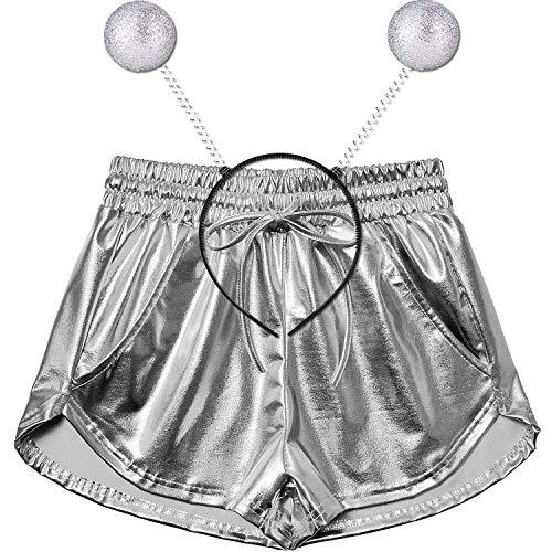 Perfashion Women's Silver Metallic Hot Shorts Summer Yoga Shiny Drawstring Outfits Pairing with A Headband