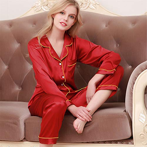 WYX Paar Pyjama Set Aus Seide Und Satin Pijamas Langarm Nachtwäsche His-Und-Her Home Anzug Pyjama Für Liebhaber Mann Frau Lovers\' Clothes,a,XL