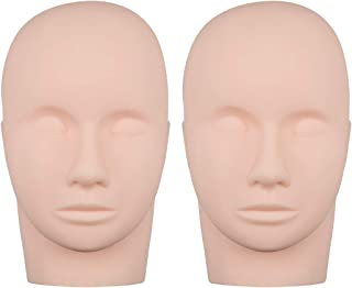 Foraineam 2-Pack Practice Training Head Rubber Cosmetology Mannequin Doll Face Head For Eyelashes Makeup Massage Practice