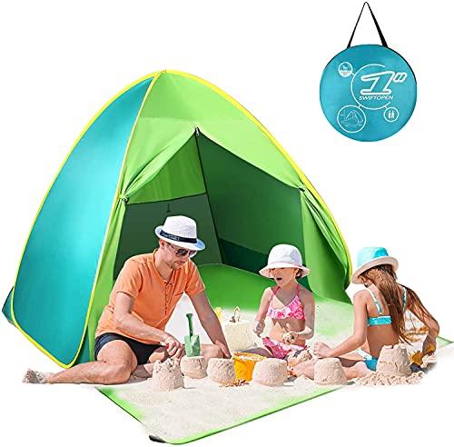 FBSPORT Beach Tent, UPF 50+ Easy Pop Up Beach Shade, Sun Shelter Instant Portable Beach Tent Umbrella Baby Canopy Cabana with Carry Bag, Green/Cyan