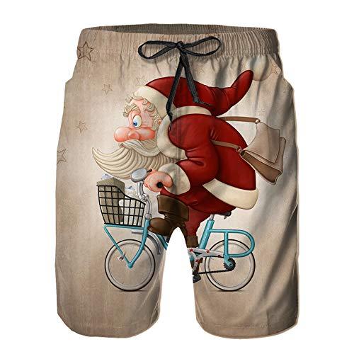 Hombres Verano Secado rápido Pantalones Cortos Playa Santa Claus Paseos en Bicicleta Entrega gi-fts Trajes de baño Correr Surf Deportes-XL