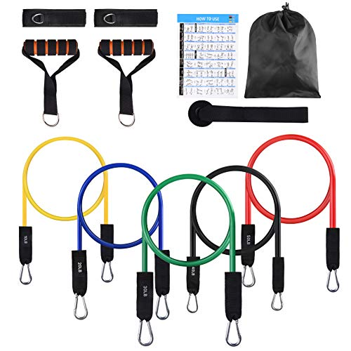 FITFIT Resistance Bands Set, 5-Piece Exercise Bands with Handles, Stackable Up to 150 lbs, Training Tubes with Door Anchor & Ankle Straps for Resistance Training, Perfect Muscle Builder