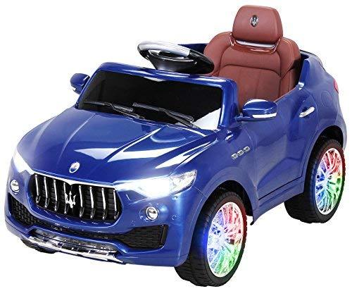 PEQUENENES Coche ELECTRICO para NIÑOS Maserati Levante con Licencia Oficial Y RADIOCONTROL (Azul)