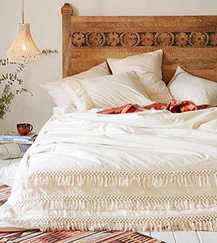 Funda de edredón de algodón con flecos y borlas, color blanco, tamaño queen, 86 x 90 pulgadas