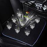 KUMADAI Cuscino del Sedile Ventilato Cuscino Sedile Rinfrescante USB Ricaricabile Fodera per Cuscino di Raffreddamento per Seggiolino Auto con 4 Ventole a Basso Rumore,Nero