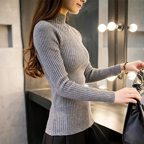BINGSL Sweater,8 kleuren Herfst Vrouwen dame trui hoge elastische Effen Coltrui vrouwen slank strak Bottoming Gebreide Truien