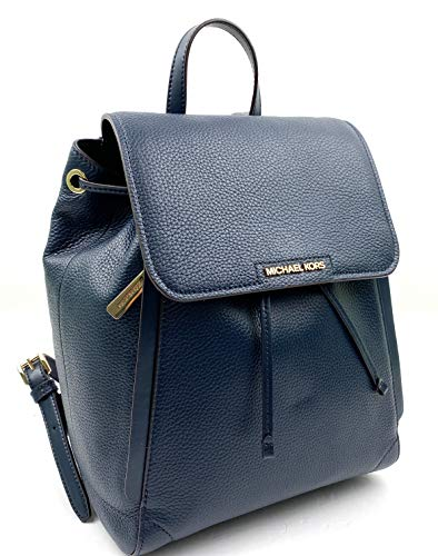 Michael Kors Ginger Medium Pebbled Leather Drawstring Backpack (Navy)