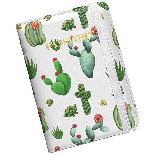 Supgear Porta Passaporto da Viaggio Portafoglio Custodia Passaporto in Pelle Porta per Passaporto Carta di Credito ID di Viaggio per le Uomo Donne (Cactus)
