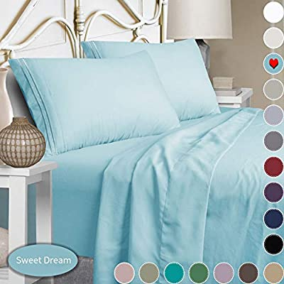 Mejoroom Full Size Sheet Set,Extra Soft Luxury Brushed Microfiber 1800 Full Sheets with 15-inch Deep Pocket - Breathable Wrinkle Fade Stain Resistant Hypoallergenic - 4 Piece (Full, Aqua)