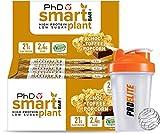 PhD Nutrition Barra inteligente vegana para plantas de alta proteína 12 x 64 g barras de chocolate + coctelera (palomitas de maíz choc)