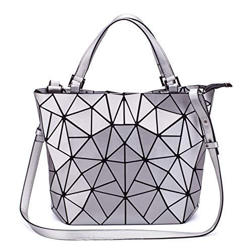 FZChenrry - Bolso de mano para mujer, diseño geométrico, bolso de hombro, monedero único, diseño de rejilla, color Plateado, talla Einheitsgröße
