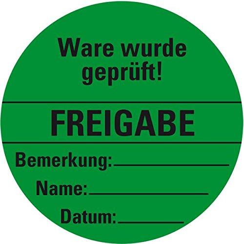 LEMAX® Organisationsetikett Freigabe, grün, Haftpapier, ablösbar, Ø 60mm, 500/Rolle