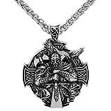HLARK Colgante Collar Vikingo con Odin Crow Amuleto Céltico...