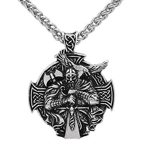 CANNE Odin Thor's Hammer Mjolnir Raven Wolf Viking Norse Celtic Pendant Necklace Nordic Rune Amulet Classic Jewelry with 24 inch Chain (#3)