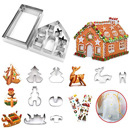 ZNABHNG Formine Biscotti Natalizie 3D Natale 18 Pezzi Stampi in Acciaio Inossidabile 3D Stampi Biscotti Natalizio Formine per Biscotti per Bambini DIY (Flower)