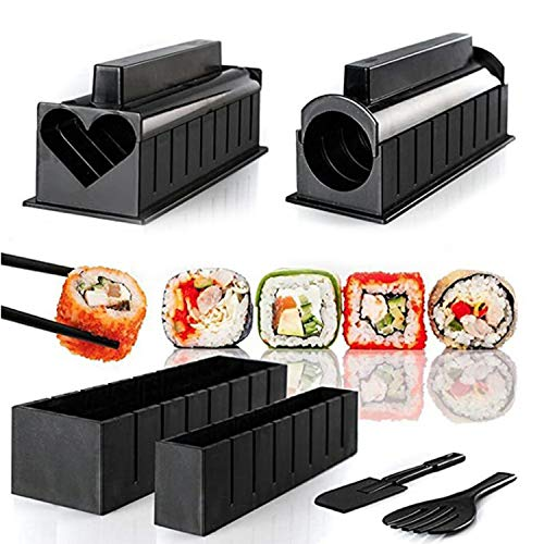 Kit de equipo para hacer sushi, kit de 10 piezas para hacer sushi, rollo de máquina de sushi, molde para rollo de arroz, completo con 8 formas de molde de arroz de sushi y 2 espátulas de tenedor ,divertido y cómodo (Negro, S)