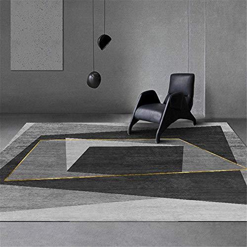 La alfombras Decoracion Pasillo Alfombra de diseño geométrico Gris Negro Antideslizante y fácil de Limpiar alfombras Pasillo Alfombra de habitacion 80*150CM
