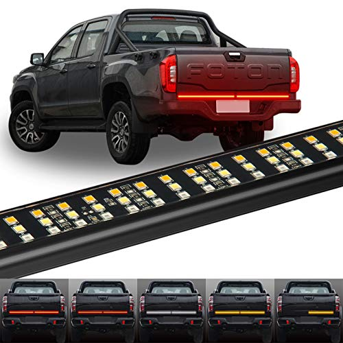 CT CAPETRONIX 60'' Triple Row LED Tailgate Light Bar, 5 Functions Running/Brake/Back-up/Turn Signal/Double Flash Tailgate Strip 504 LED Red/White/Amber, Aluminum Frame Waterproof Plug-and-Play Install