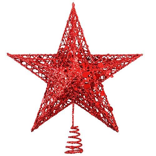 Tupa Puntale per albero di Natale in metallo glitterato Hallow Wire Star Topper per Natale decorazione domestica, 25 cm
