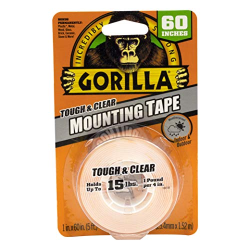 Gorilla Tough & Clear Double Sided Mounting Tape, 1' x 60', Clear, (Pack of 1)