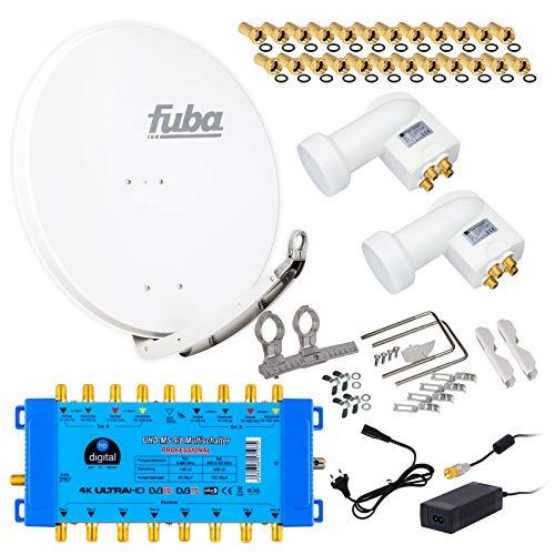 FUBA 8 Teilnehmer 2 SAT Digital SAT Anlage DAA850W + Opticum LNB 0,1dB Full HDTV 4K + PMSE Multischalter 9/8 + 24 Vergoldete F-Stecker Gratis dazu