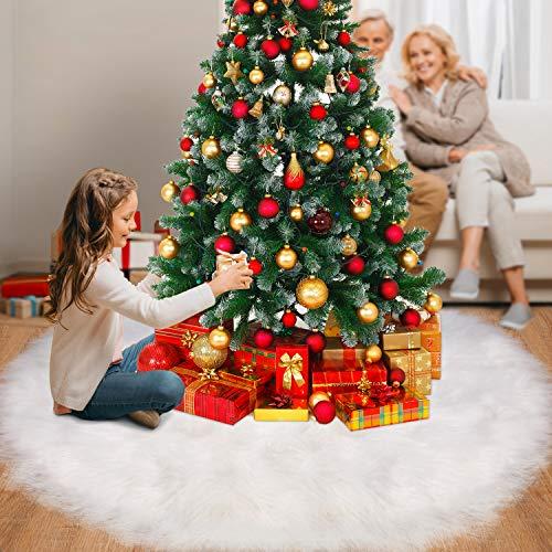 Tatuo Weiße Kunstpelz Weihnachtsbaum Rock Schnee Baum Röcke für Weihnachtsfeiertag Dekorationen (120 cm)