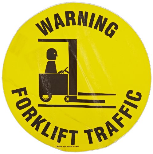 "Brady 97615 17"" Diameter, Vinyl Film With Clear, Matte Anti-Slip Overlaminate, Black On Yellow Floor Safety Sign, Legend Warning Forklift Traffic (With Picto)"