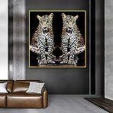 XMYC Póster de Imagen de Moda de Leopardo, póster de Animales, imágenes Decorativas e Impresas para la decoración del hogar de la habitación, 40x40 cm sin Marco
