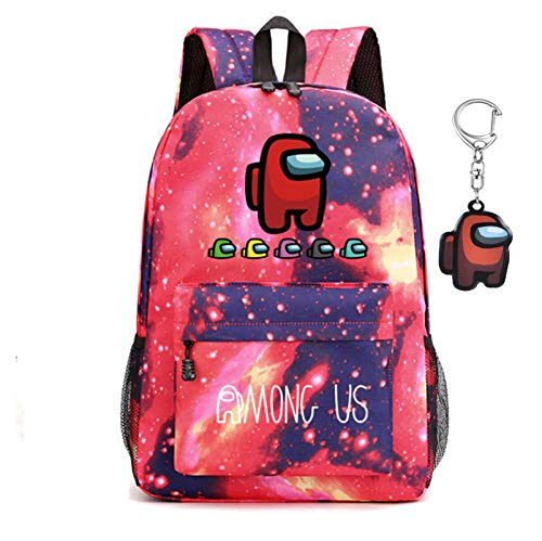 Among us backpack, sWerewolf Killing Student Backpack, school bag, boy and girl laptop backpack, gift for teenage game fans, with keychain (Star powder (A))