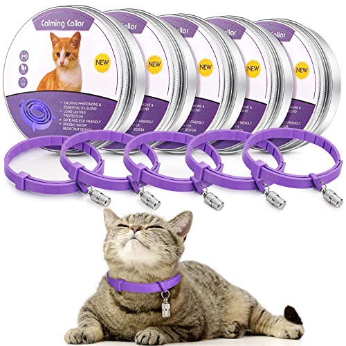 Weewooday 5 Set Calming Collar for Cats Adjustable Waterproof Cat Calming Collars Reduce Anxiety Stress Cat Collars with 5 Pet ID Pendants
