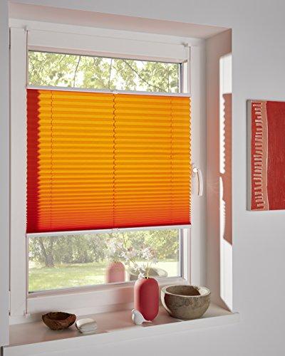 DécoProfi Plissee orange, verspannt, Breite 80cm x 220cm (max. Gesamthöhe Fensterflügel), mit Klemmträger/Klemmfix/ohne Bohren