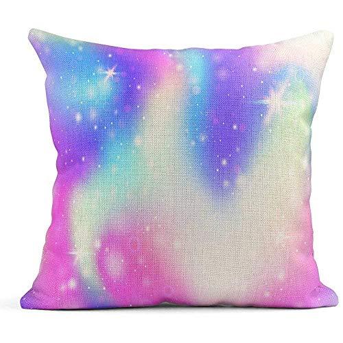 Qazqian Fundas de Almohada Universo místico holográfico Rainbow Mesh en Colores Princesa Fundas de cojín de Lino Fundas de Almohada para el hogar