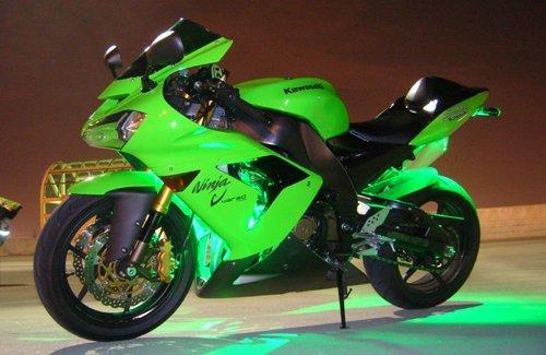 Green 4 Pc LED Neon Motorcycle Lighting Kit
