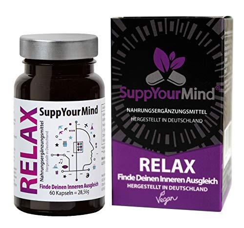 RELAX pflanzlicher anti Stress und Stimmungsaufheller | Ashwagandha und 5-HTP| Beruhigungstabletten für innere Ruhe und Ausgeglichenheit | vegane Kapselhülle