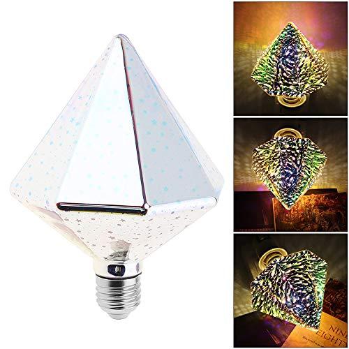 LQCN 85V-265V 7W Bunte LED Glühbirne Bohrer Typ 3D Feuerwerk Glühbirne mit 360 Grad Strahl für Weihnachten Ferienhaus Dekoration Lampe, 85V, 265V