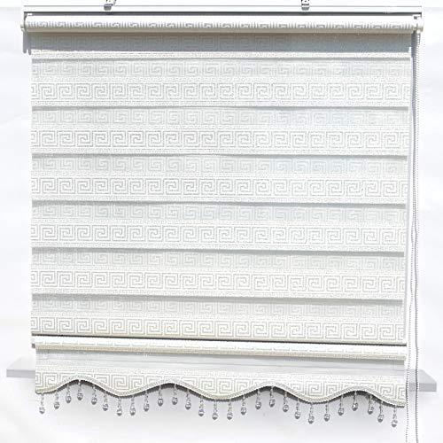 Doppelrollos Duorollo Fenster Tür Rollos Versace Gardinen Weiß Silber mit Perlen 140 x 200 cm