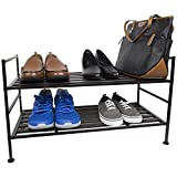 Home Basics 2 Tier Stackable 12-Pair Slatted Shelf Shoe Rack Steel Utility Shelving Unit, Espresso
