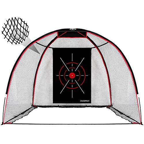 Champkey TEPRO 10' x 7' Golf Hitting Net | 5 Ply-Knotless Netting with Impact Target Golf Practice Net | Choose Between Golf Hitting Net and Golf Hitting Net with Mat